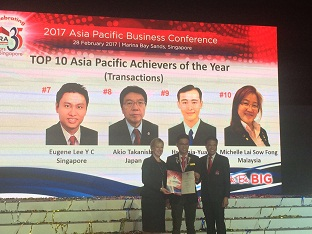 Eugene Lee, Asia Pacific Top 7th Transactor Award Winner 2016